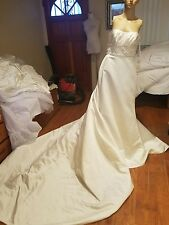 La Sposa wedding dress size 10 ivory straplees stones beads NWTs