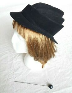 Ladies Vintage French Felt Hat Size 6 7/8 or Small PLUS Hatpin 1930s 40s Black