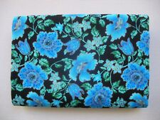 100cm x 112cm Black Blues Gold - Floral - Cotton Fabric Material