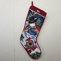 Christmas Stocking MOM Needlepoint Snowman Birdhouse Cardinal Snow Velvet Back