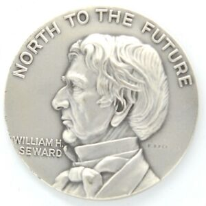 North To The Future W H Seward Alaska Purchase Centennial 1867-1967 Silver Medal