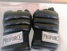Pro Force Leatherette Striking/Grappling Gloves Wrap-around Fingerless-Large-New