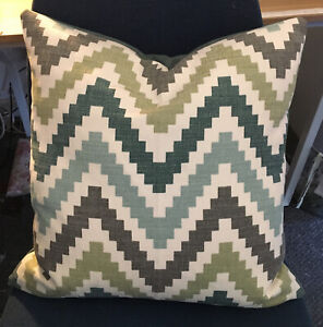 """Two Romo Cubis Scala Jade / Teal 17"""" Cushion Covers Modern Designer Fabric Two"""
