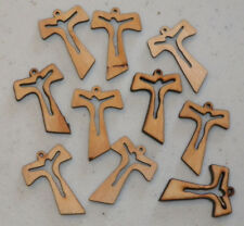 10 CHARMS - Wooden Cross Pendants with Jesus Cut-out, Christian Jewelry Craft
