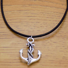 & Black Leather Adjustable Necklace Awesome Cool Nautical Sailor Anchor Pendant