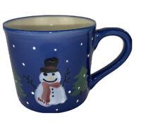 Hartstone Pottery Coffee Mug Snowman Christmas Trees Snow Signed Used