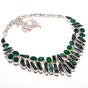 """Biwa Pearl, Green Onyx Gemstone Handmade 925 Silver Jewelry Necklace 18"""" KAJ-866"""