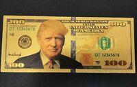 President Donald Trump Pack of 10- $100 Dollar Bills Gold Color Foil Banknote