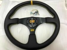Racing Yellow Stitch Yellow Ring 350mm Black Flat Genuine Leather Steering Wheel