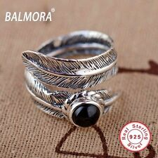 925 Sterling Silver Feather Ring with Black Adj Size Biker Punk Gothic Vintage