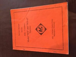 ALLIS-CHALMERS MODEL WD 45 TRACTOR SERVICE MANUAL ALLIS CHALMERS