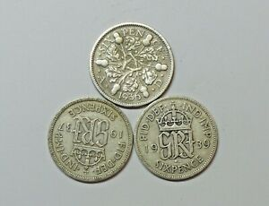GREAT BRITAIN : SILVER SIXPENCE x 3. 1936, 1937 & 1939. 0.500 SILVER.