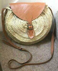 Handbag Round Large Moroccan Palm Straw Woven Shopper Leather Strap BNWOT