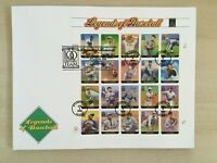 2000 Baseball Legends #3408 full sheet of 20 FIRST DAY COVER FDC Fleetwood