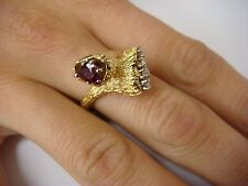 VINTAGE 0.50 CT RUBY & 0.30 CT DIAMONDS, BYPASS DESIGN, 14K YELLOW GOLD RING