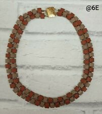 DOUBLE STRAND 70S STYLE BROWN AND TAN SQUARE BEAD NECKLACE