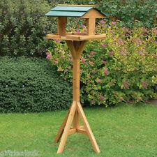 TRADITIONAL GARDEN WOODEN BIRD TABLE FEEDER FEEDING FREE STANDING BIRDS HOUSE