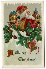 PERE NOEL GAUFRé .SANTA CLAUS EMBOSSED.CADEAUX GIFTS A HAPPY CHRISTMAS