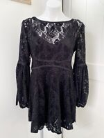 Free People Women's Ruby Lace Mini Dress Black Long Sleeve Size XS OB725148