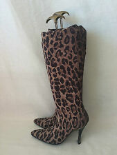 Auth Dolce & Gabbana Leopard Print Tall Pull on Boots 38. Hard to find.