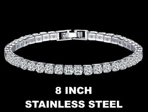 Mens Round Cut 6.5-9 Inch CZ Iced Gold Or Silver Hip Hop Tennis Chain Bracelet