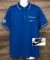 NIKE FITDRY Men's Blue Short Sleeve Polo Golf Casual Shirt Swoosh Pocket XL