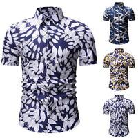 Mode Homme Chemise Hawaïenne Été Imprimé Floral Plage Hauts Manche Court
