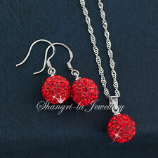 925 STERLING SILVER Red BALL NECKLACE SET with SWAROVSKI CRYSTAL EFX010 XMAS