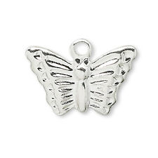 Lot of 100 Little Flat Silver Butterfly Drop Charms Plated over Brass Base Metal