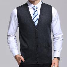 Men Warm Sweater Knitted Cardigan Vest V Neck Sleeveless Button Tops Knitwear