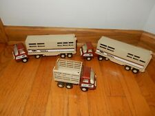 Set of 3 Vintage 1970's Tiny Tonka Semi Cab Trucks & Horse Trailers