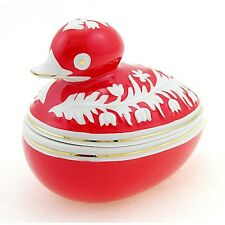 Retro Vintage Hungarian Porcelain Duck Figurine Covered Dish - Red