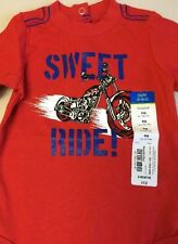 "okie dokie ""Sweet Ride!"" Red Cotton Bodysuit - Size 9 Months - NEW"
