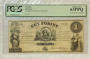 1800s New York Egy Forint Hungarian Fund Obsolete BankNote  PCGS 63PPQ