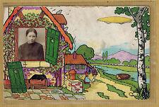 Carte Photo vintage card RPPC fillette souvenir d'école ferme pz073