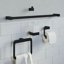 Bathroom Set Towel Ring Rail Toilet Roll Holder Robe Hook Tumbler Black Square