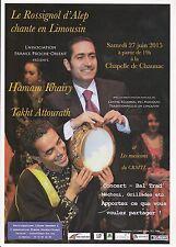 HAMAM KHAIRY & TAKHT ATTOURATH - CONCERT 2015 FLYER / TRACT PUBLICITAIRE