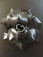 """LOT OF 2 Soft Leather Rose Black Craft sew fabric flower bow Rose ribbon 2.5"""""""
