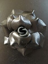 """LOT OF 5 Soft Leather Rose Black Craft sew fabric flower bow Rose ribbon 2.5"""""""