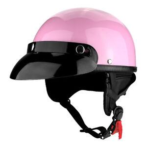 Motorcycle 1/2 Helmet Pink Half Helmet Low Profile Cruiser Skid Lid Cap