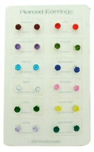 MULTI-GEMS BIRTHSTONE STUD EARRINGS - 12 Pairs - One Price * NEW WITH TAG*