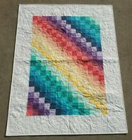 NEW~20 Colors Bargello Rainbow 40 x 52 Crib size Quilt Finished Boundless Fabric