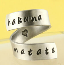 Hakuna Matata Wrap Ring Adjustable Twist Aluminum Ring Handstamped Ring