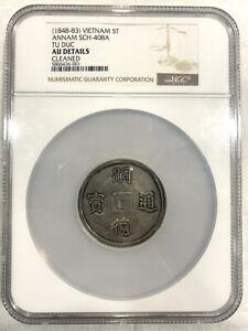 """Vietnam 1848-83 Annam Tu Duc""""富寿多男"""" 5 Tien NGC AU Silver Coin,Rare!"""