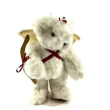 """Vintage Vermont Teddy Bear 1995 White Winged Cupid Angel 12"""" Plush & Jointed"""