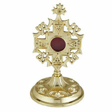 Autom 4 1/4 Inch Polished Brass Ornate Jerusalem Cross Standing Reliquary N.G.