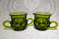 Vintage Indiana Glass  Green Kings Crown Thumbprint Creamer and Sugar Bowl Set