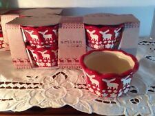 Artisan By Ciroa Red Quality Stoneware Ramekins Baking Cup Dishes Reindeer New!