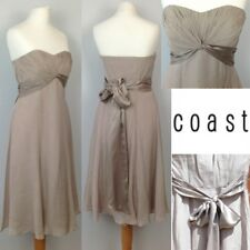 NEW Coast Silk Floaty Strapless Dress UK8 Pastel Beige Prom Party Wedding
