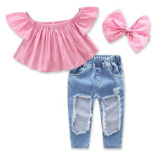 New baby children's clothing baby girl T-shirt top + hole pants suit